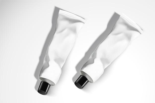 Cosmetische handcrème buizen ingesteld op witte achtergrond