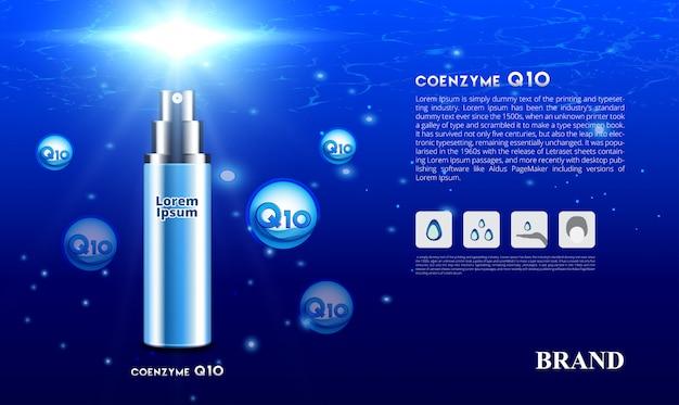 Cosmetische huidverzorging spray serum co-enzym q10 onder blauwe oceaan concept met zonlicht 3d verpakking merkontwerp