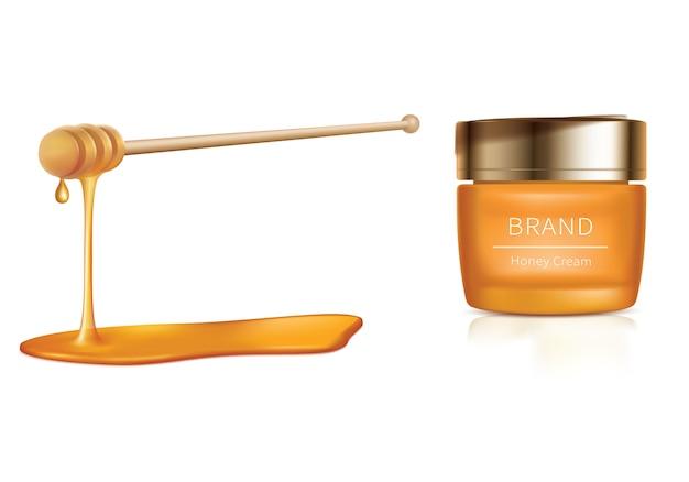 Cosmetische illustratie met honing cosmetica