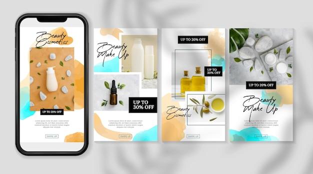 Cosmetische instagram-verhalenproducten en oliën