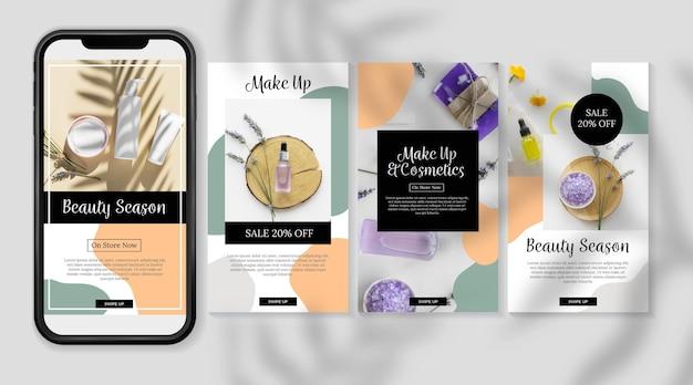 Cosmetische instagramverhalen biologische huidverzorgingsproducten