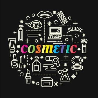 Cosmetische kleurrijke verloop met lijn pictogrammen instellen