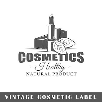 Cosmetische label geïsoleerd op een witte achtergrond. ontwerpelement. sjabloon voor logo, bewegwijzering, huisstijlontwerp.
