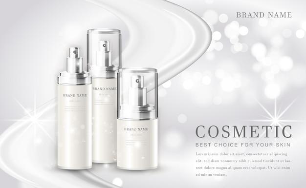 Cosmetische make-up illustratie productfles met elegante witte glanzende achtergrond