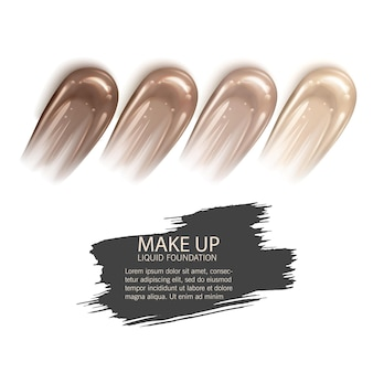 Cosmetische make-up vloeibare foundation textuur vlekken illustratie