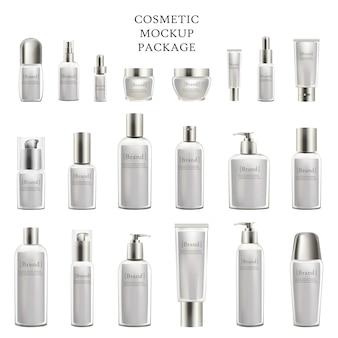 Cosmetische mockup pakket set van cosmetische flessen