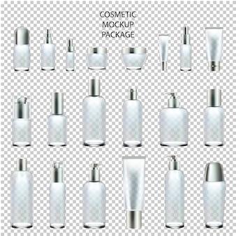 Cosmetische mockup set pakket glas verschillende grootte.