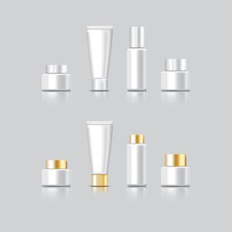 Cosmetische pakket kleur wit voor decoreren op grijze achtergrond