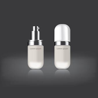Cosmetische pakket kleur wit voor versieren op drak achtergrond