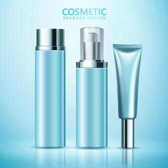 Cosmetische pakket ontwerpset, lege cosmetische containers mockup s in blauwe kleurtoon, 3d illustratie