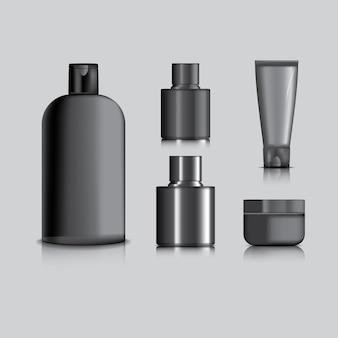 Cosmetische pakket zwarte kleur voor versieren op grijze achtergrond