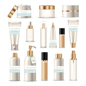 Cosmetische pakketverzameling van schoonheidsproductencrèmeslotions met gouden en zilveren merkendecoratie
