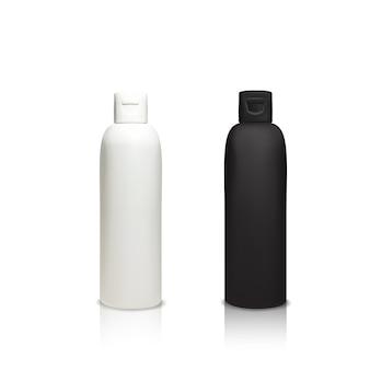 Cosmetische plastic flessen illustratie van 3d-realistische containers voor douchegel, shampoo