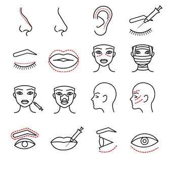 Cosmetische plastic gezicht chirurgie vector dunne lijn pictogrammen instellen