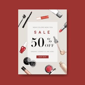 Cosmetische poster met lip tint, wenkbrauwpotlood, foundation