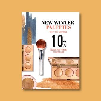 Cosmetische poster met markeerstift, penseel
