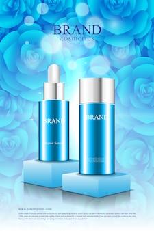 Cosmetische poster op podium blauwe roos achtergrond