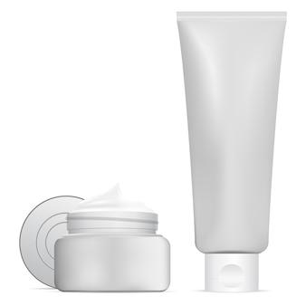 Cosmetische pot, beauty cream tube. 3d-container set