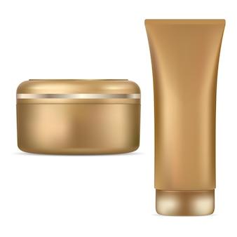 Cosmetische pot crème buis gouden pakketontwerp