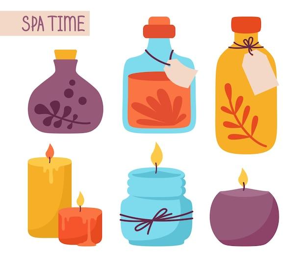 Cosmetische pot en kaars cartoon set spa aromatherapie schoonheid huidverzorging en behandeling me time concept