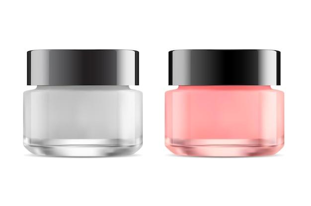 Cosmetische pot. glazen gezichtscrème fles mockup, huidverzorgingspakket.
