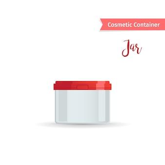 Cosmetische pot met rode dop