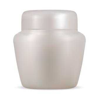Cosmetische pot. realistische crème fles lege vector sjabloon. witte container voor bodylotion met deksel. ronde plastic hand huidverzorging crème pakket geïsoleerd. pot voor gezichtsbevochtiger