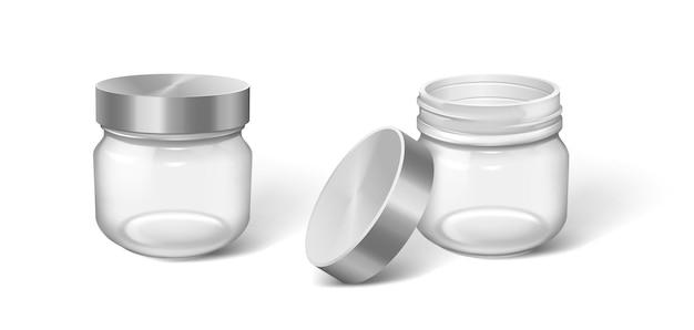 Cosmetische pot. realistische crème fles set. transparante containers zonder logo. ronde plastic verpakking voor bodylotion of huidverzorging. schoonheidsproduct pakket mockup. vector illustratie