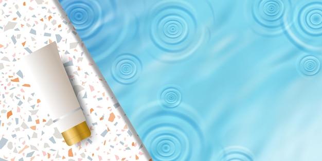 Cosmetische product display achtergrond sjabloon voor spandoek met blauwe plas water rimpel, terrazzo keramiek