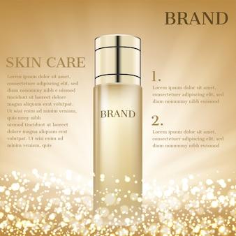 Cosmetische product met glitter achtergrond
