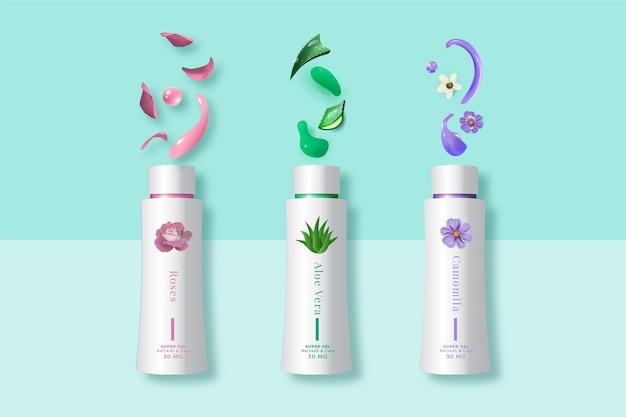 Cosmetische producten crème met verschillende planten advertentie