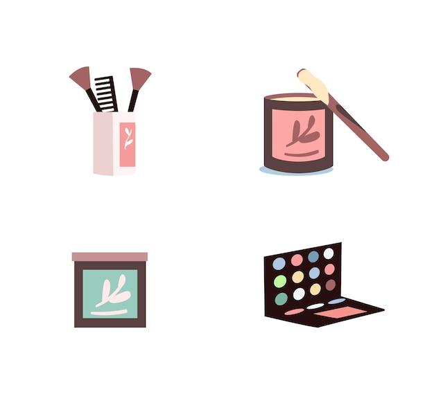 Cosmetische producten egale kleur objecten ingesteld. oogschaduw palet. suikerende crème. make-up apparatuur geïsoleerde cartoon afbeelding voor web grafisch ontwerp en animatie collectie