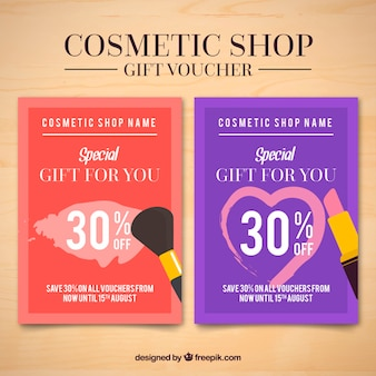Cosmetische producten flyers van de verkoop