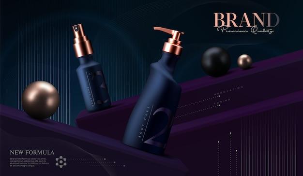 Cosmetische producten in te stellen. premium zalfpotje voor huidverzorgingsproducten. luxe gezichtscrème. elegante cosmetica