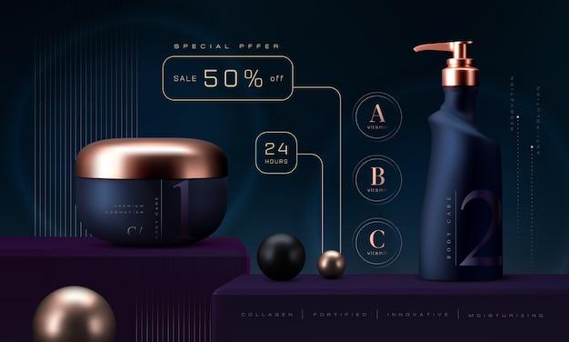 Cosmetische producten in te stellen. premium zalfpotje voor huidverzorgingsproducten. luxe gezichtscrème. elegante cosmetische advertenties