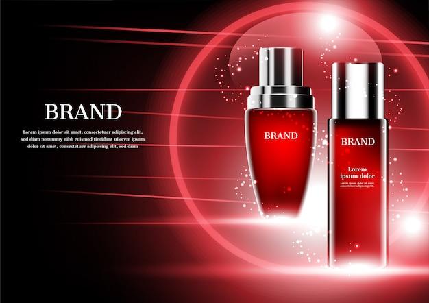 Cosmetische producten met abstracte rode lijnen en bol op donkere achtergrond