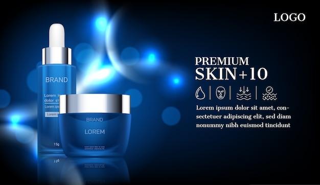 Cosmetische producten met blauw gloeiend licht op donkere achtergrond