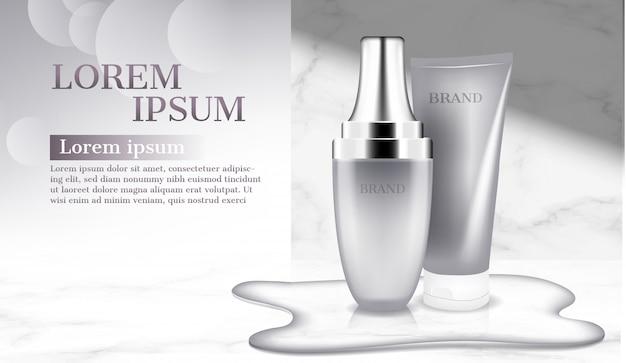 Cosmetische producten met water op vloerreclame