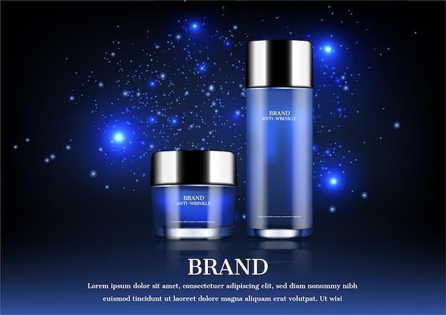 Cosmetische producten op sterrennacht achtergrond