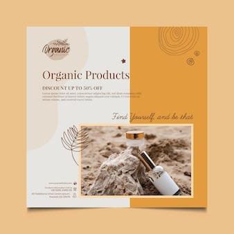 Cosmetische producten vierkante flyer-sjabloon