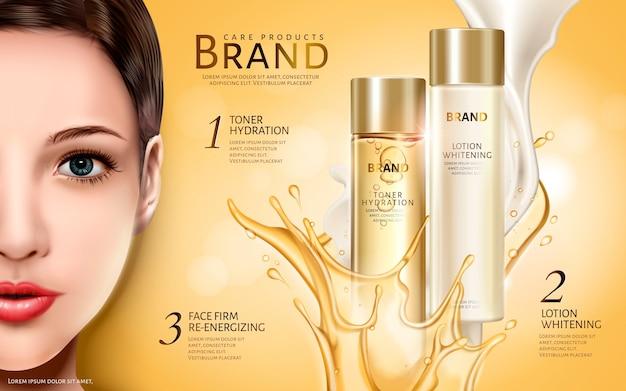 Cosmetische productenadvertentie met half modelgezicht en tweekleurige vloeistofelementen
