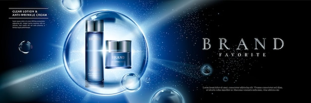 Cosmetische productreeksadvertenties met blauwe containers in bellen op gloeiende achtergrond