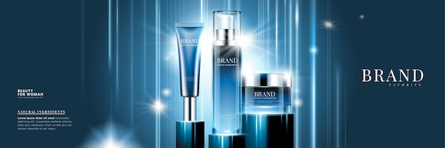 Cosmetische productreeksadvertenties met blauwe containers op gloeiende achtergrond