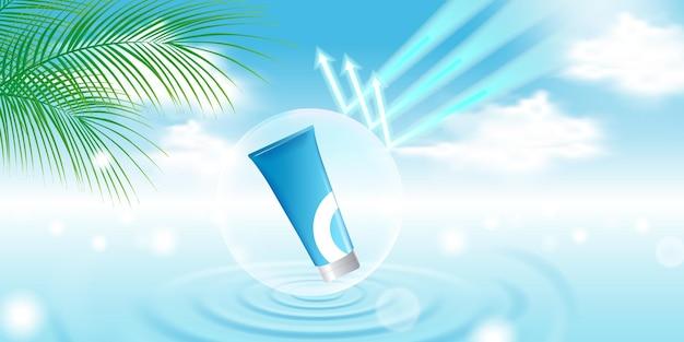 Cosmetische productweergavesjabloon met blauwe hemelachtergrond, waterrimpeling, palmblad, bellenschild
