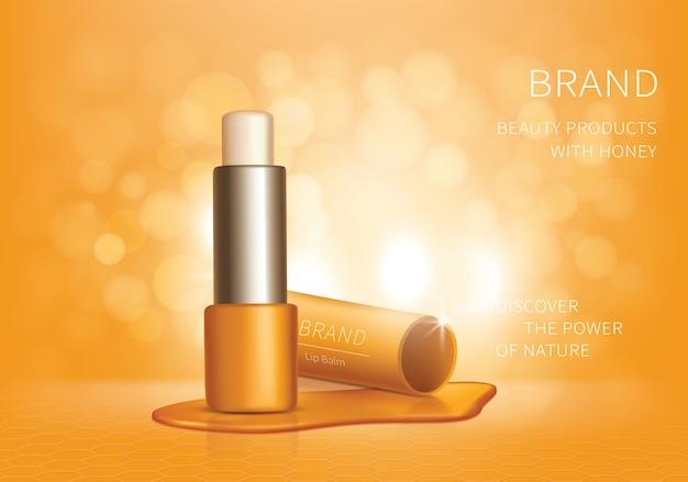 Cosmetische realistische lippenbalsem advertentie