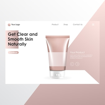 Cosmetische realistische reeks van het product met illustratie van aangedreven pagina