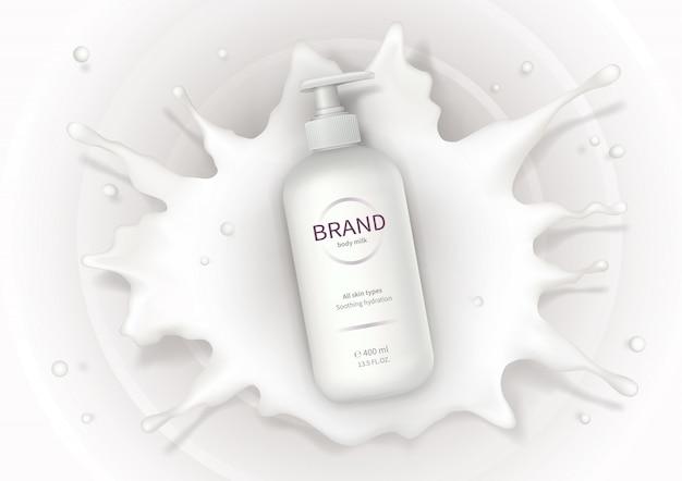 Cosmetische realistische vector achtergrond met crème