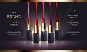 Cosmetische realistische vector advertenties banner met premium