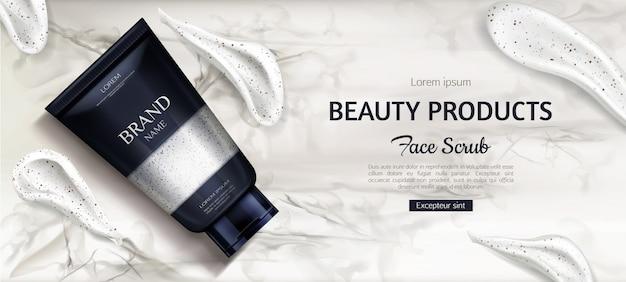 Cosmetische scrubfles, schoonheidsproduct voor gezichtsverzorging op marmer