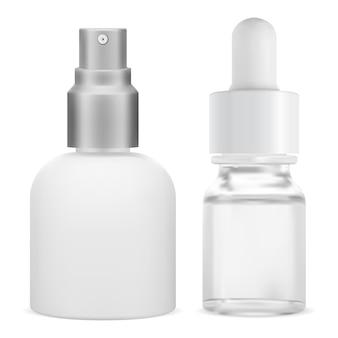 Cosmetische serumfles. glazen druppelaar essence container. doorzichtig pakket met spuitdispenserflessen.